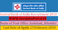 Central Bank of India Recruitment 2018 – Office Assistant, Attender & Watchman cum gardener