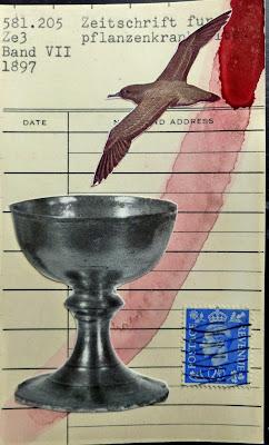 bird seagull chalice postage stamp library card Dada Fluxus mail art collage