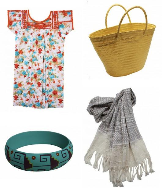 Hand embroidered dress / Hand woven market bag/ Hand painted Alebrije bangle/ Hand woven Ikat shawl