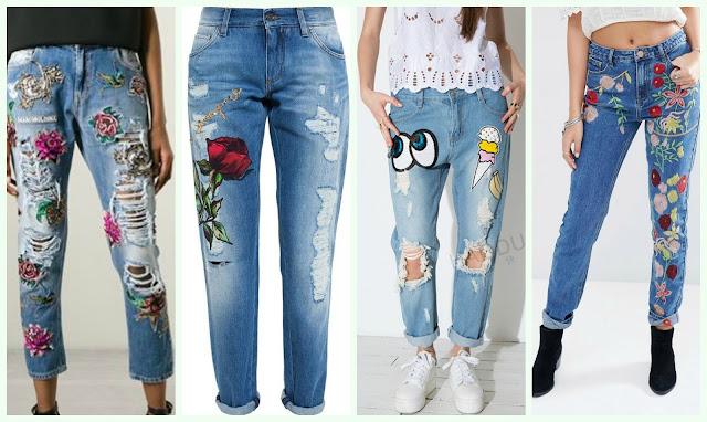 модные джинсы 2017, джинсы с нашивкой и вышивкой, модная нашивка 2017