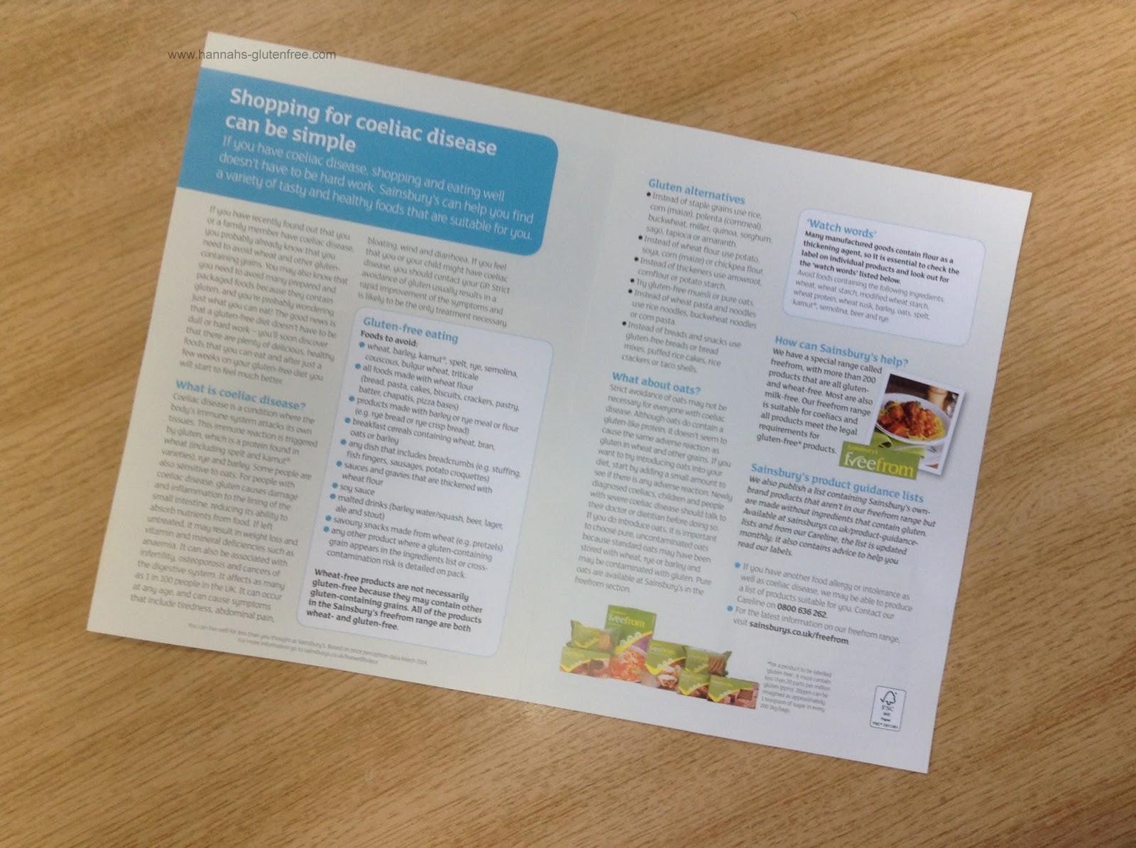 Hannah's Gluten Free : Sainsbury's Coeliac Disease Leaflet