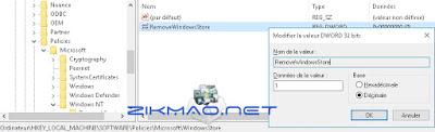 Windows 10 Désactiver l'accès utilisateur au Store NoUseStoreOpenWith