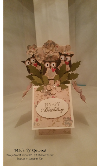 Stampin' Up! owl builder punch pop up box card
