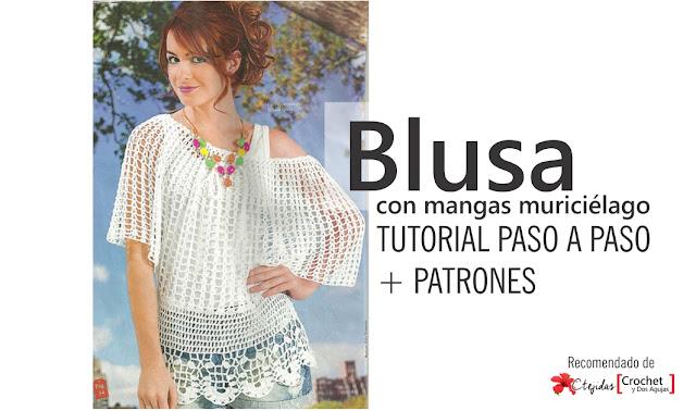 Tutorial Paso a Paso + Patrones: Blusa con mangas murciélago a Crochet