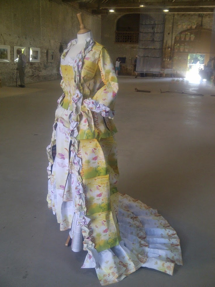 My paper dress, exhibited at Calke Abbey and Sudbury Hall, for the National Trust.