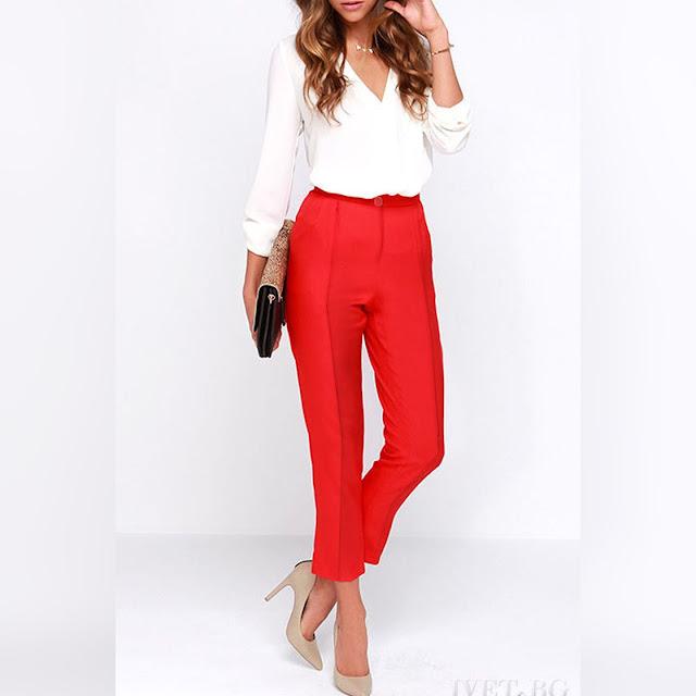 Ψηλόμεσο κόκκινο παντελόνι DORIKA RED