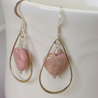 modern pink heart earrings