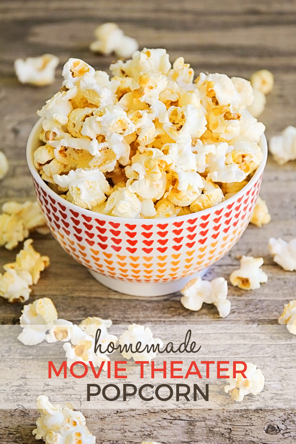 This homemade movie theater popcorn has only three ingredients and is ready in less than five minutes! Super delicious and easy too!