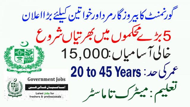 15000+New Vacancies Government Jobs in Pakistan 2021