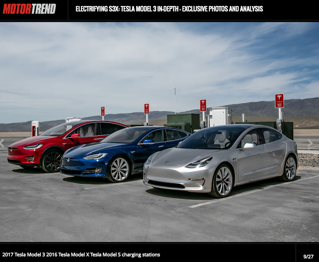 Screent shot from Motor Trend slide so of Tesla Model 3, S and X