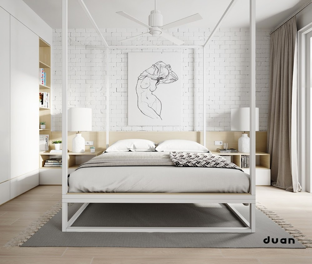 white-stencil-ceiling-height-four-poster-bed