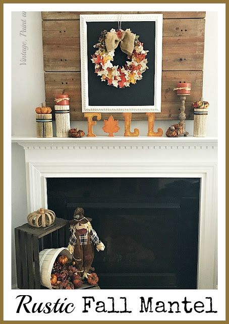 Vintage, Paint and more... rustic fall mantel with chalkboard, paper leaf wreath, book page columns, little fabric pumpkins and diy FALL sign