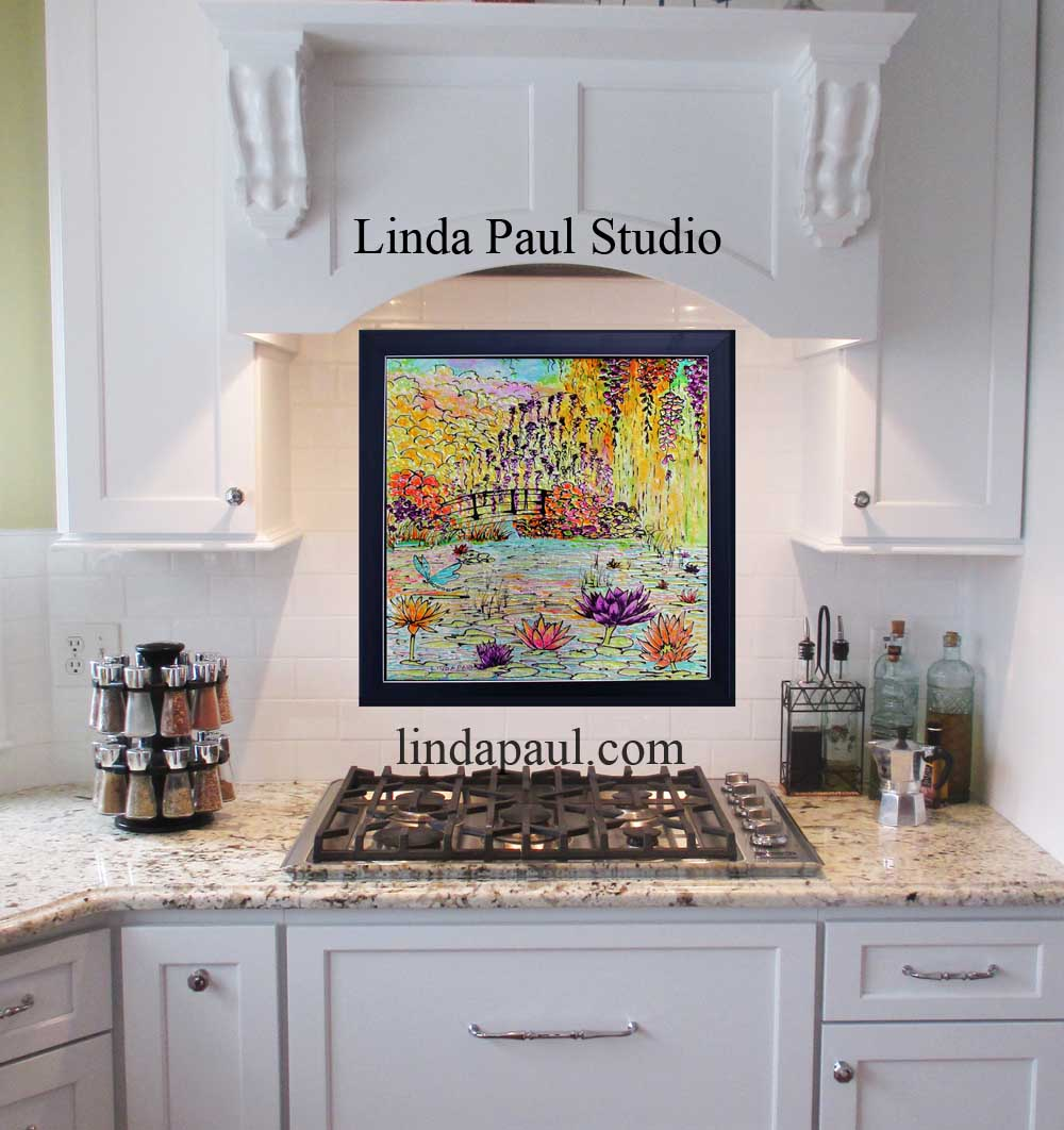 Kitchen backsplash ideas designs and pictures of backsplashes monet garden whimsy original framed glass art of pond water lilies and bridge inspired in monets garden at giverny france by american artist linda paul doublecrazyfo Gallery