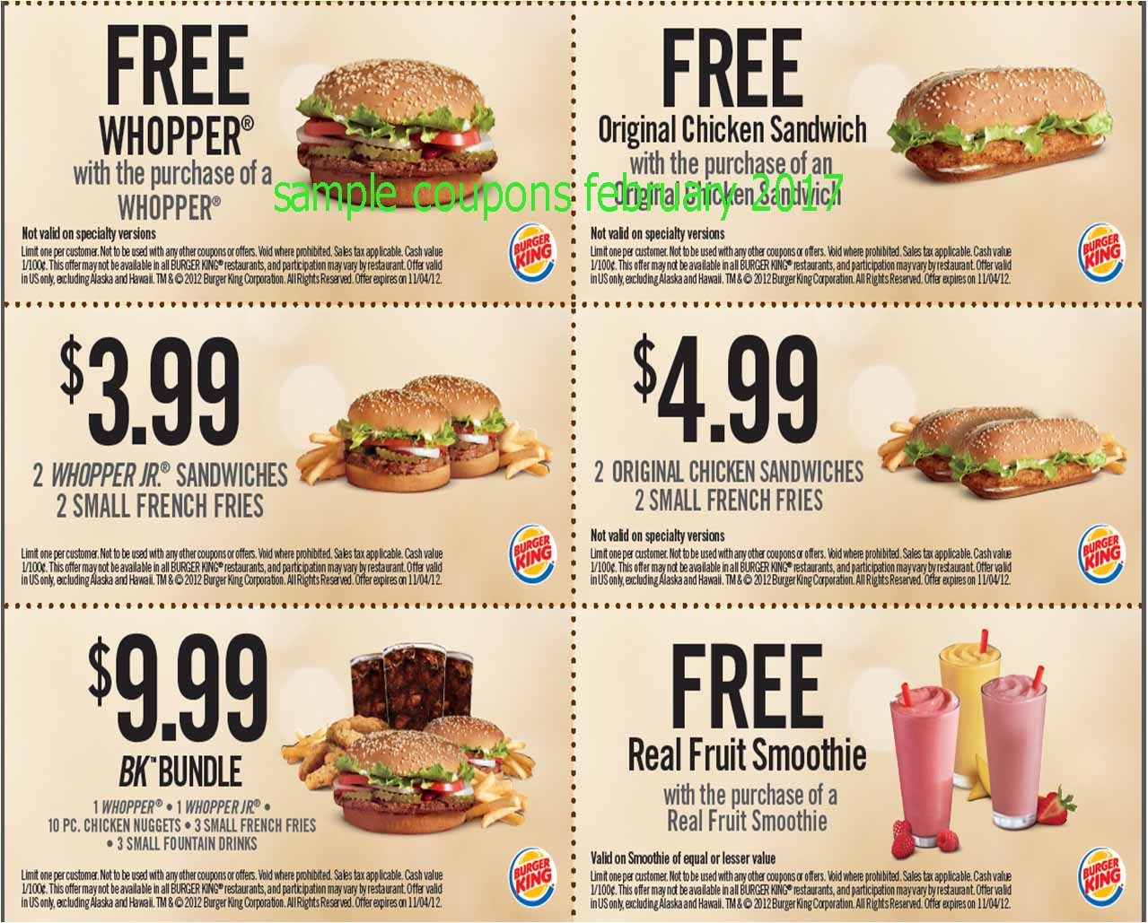 Printable Coupons 2018: Burger King Coupons