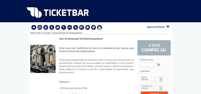 Ticketbar para ingressos para um tour de moda pela Via Montenapoleone em Milão