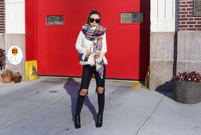 Endless Rose Fringe sweater, blanket scarf, asos blanket scarf, Coach messenger bag with pop-up pouch in caviar calf leather, unif ripped knee jeans, pointy toe booties, karen walker super duper sunglasses, chanel earrings, fringe sweater, fashion blog, street style, nyc blogger