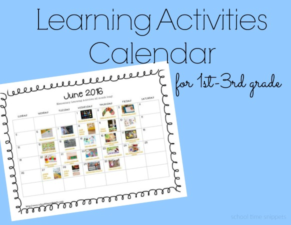 """To reduce some of the """"summer slide"""" that happens, I've put together a fun calendar for June filled with various educational activities!  Enjoy playing and learning this summer!"""