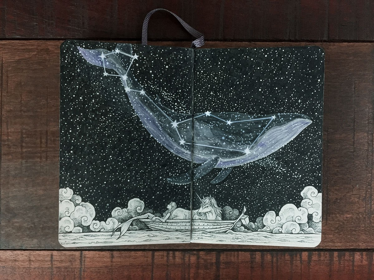 13-The-Whale-Constellation-Kerby-Rosanes-Detailed-Moleskine-Doodles-with-many-Whales-www-designstack-co