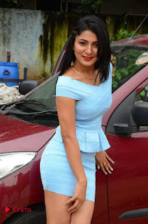 Actress Ankitha Jadhav Pictures in Blue Short Dress at Cottage Craft Mela 0012.JPG
