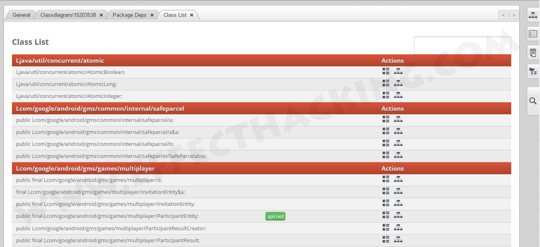 Class List Screenshot