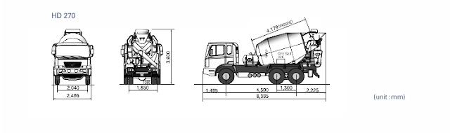 Kích thước xe trộn bê tông Hyundai HD270