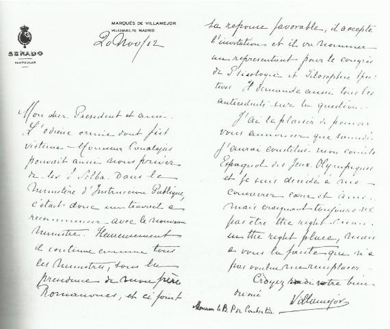 Marqués Villamejor, Coubertin 1912, Estocolmo, Comité Olímpico Español, CIO