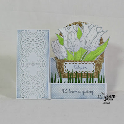 Our Daily Bread Designs Stamp Set: Tulips, Basket of Blessings, Custom Dies: Side Step Card, Tulip, Circle Scalloped Rectangles, Easter Basket, Art Deco, Grass Border