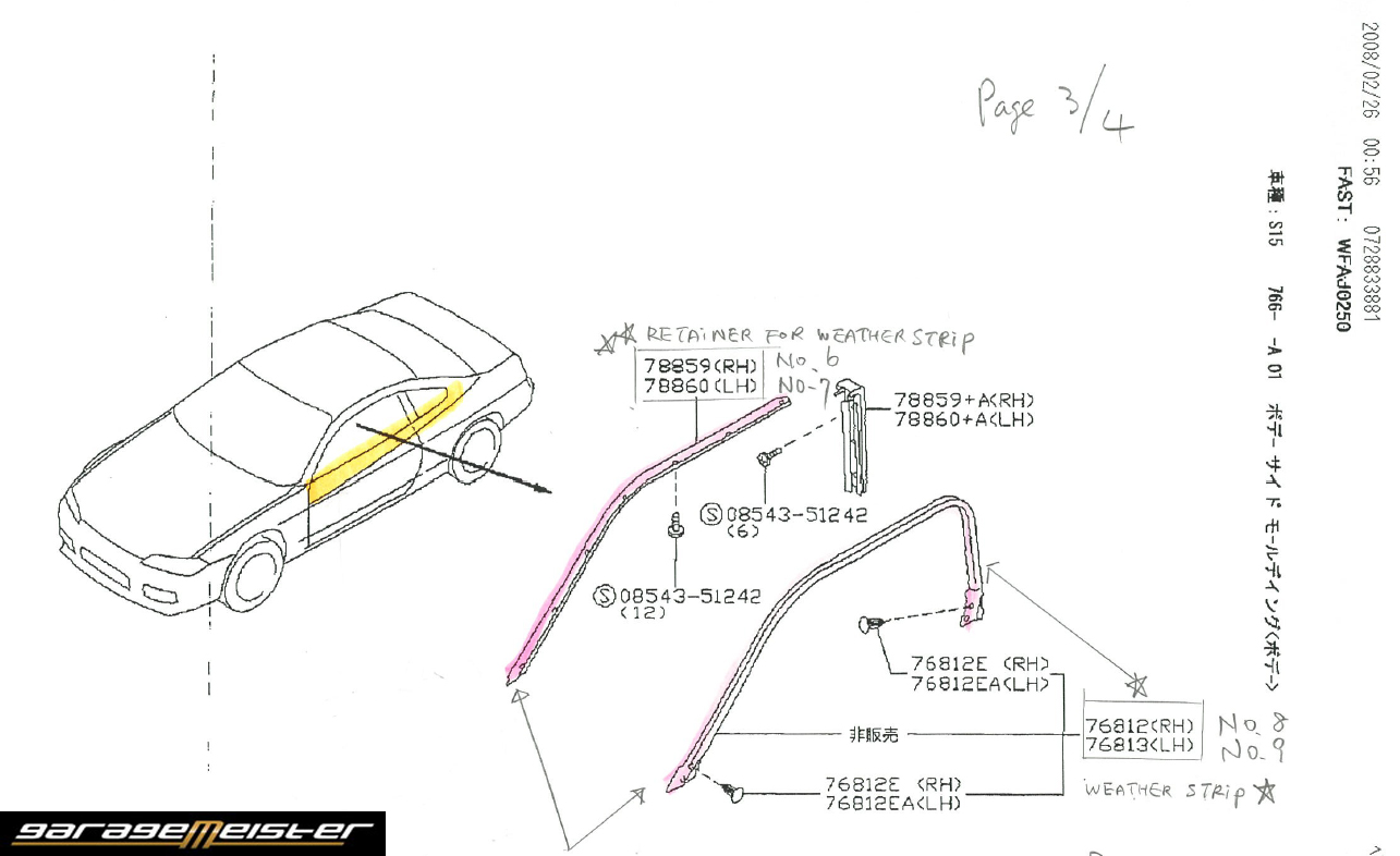 Twy Trading Nissan Genuine Parts Silvia S15