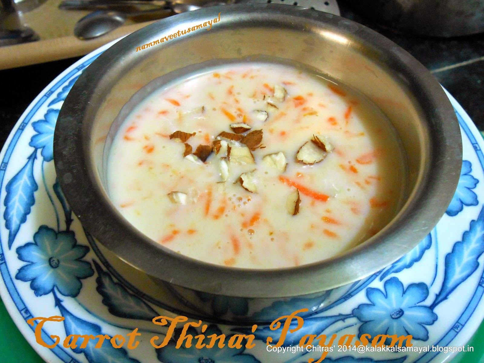 Carrot Thinai Payasam [ Carrot Foxtail Millet Payasam ]
