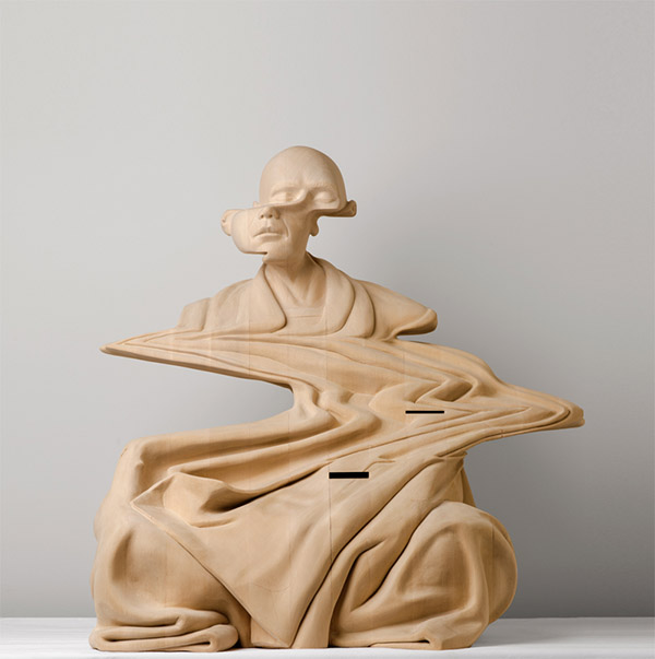 Paul Kaptein (Australia) - Buddhist monk wood sculpture