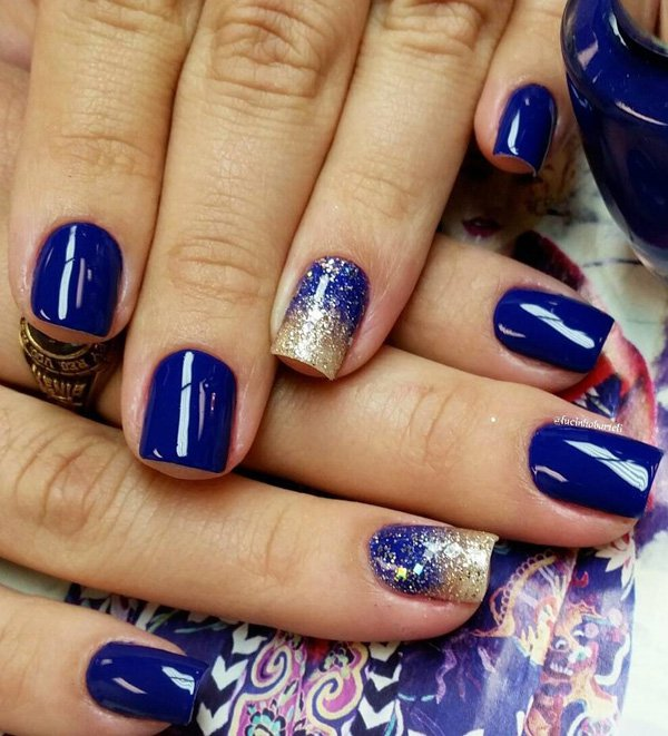 Royal blue nail art designs 2016 fashion newbys blue themed washed out gradient nail art design a rather artsy display of gradient using gold glitter polish gradually declining inwards the nails dark prinsesfo Choice Image