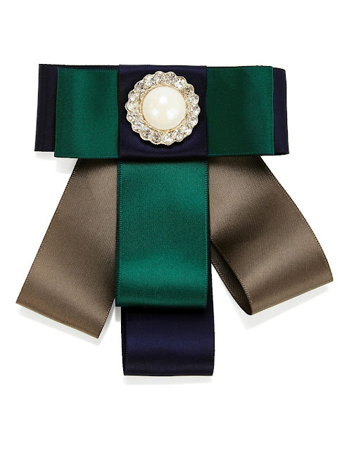 madeleine Brooch With Satin Ribbons & Ornamental Stone