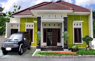 rumah dengan kombinasi cat warna hijau yang sejuk