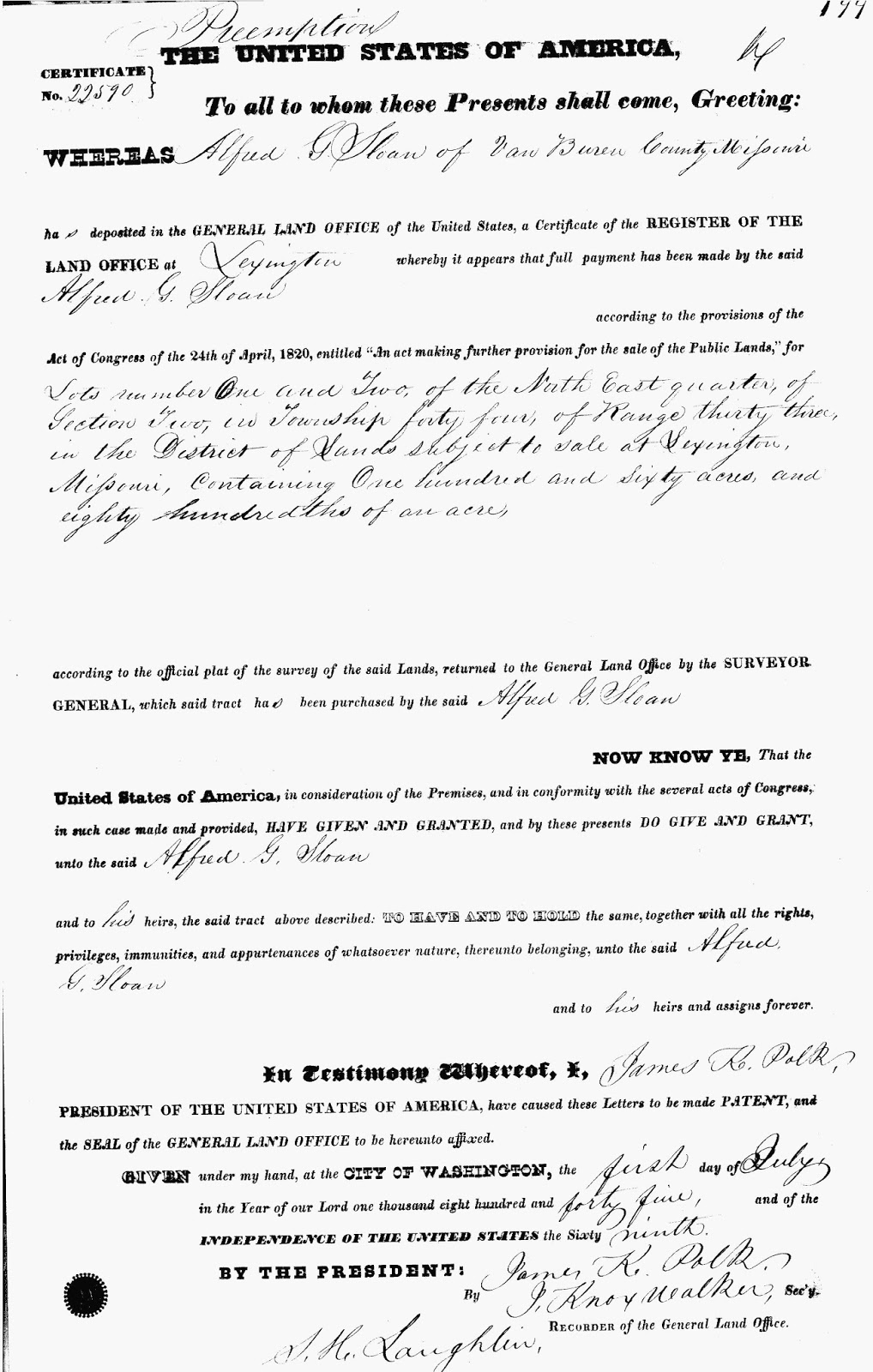 alfred g sloan s first land patent from 1845