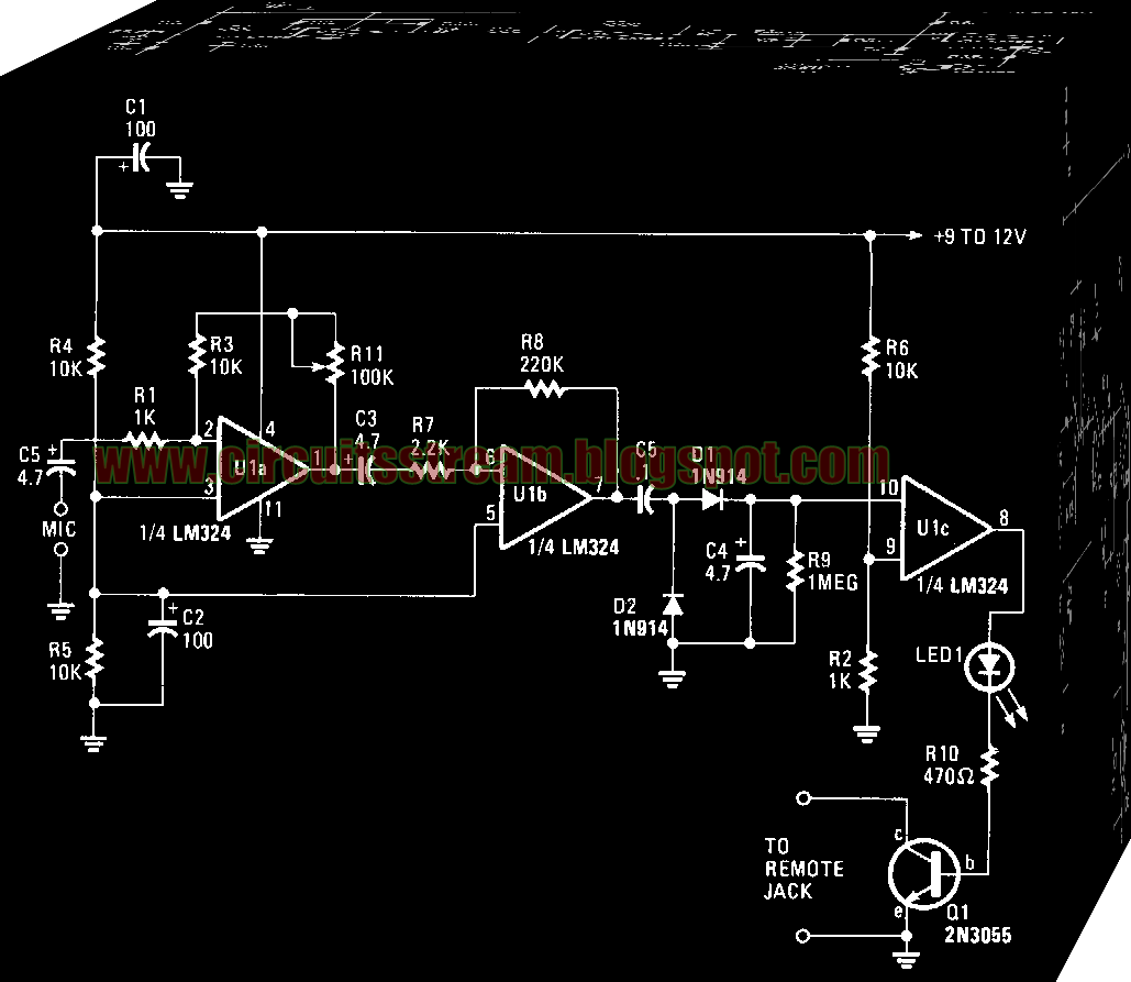 Simple Sound Activated Tape Switch Circuit Diagram