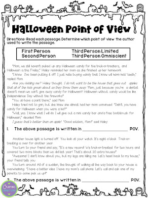 FREE Halloween Point of View worksheet! Includes first person, second person, third person limited, and 3rd person omniscient.