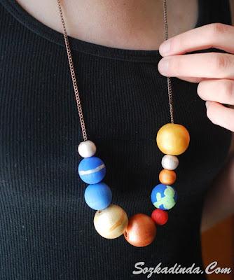 güneş sistemi kolye yapımı anlatımlı