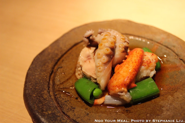Lightly Poached Maine Lobster, Octopus from Portugal, Steamed Monk Fish Liver, Sugar Snap Peas with Citrus Soy Sauce at NAOE