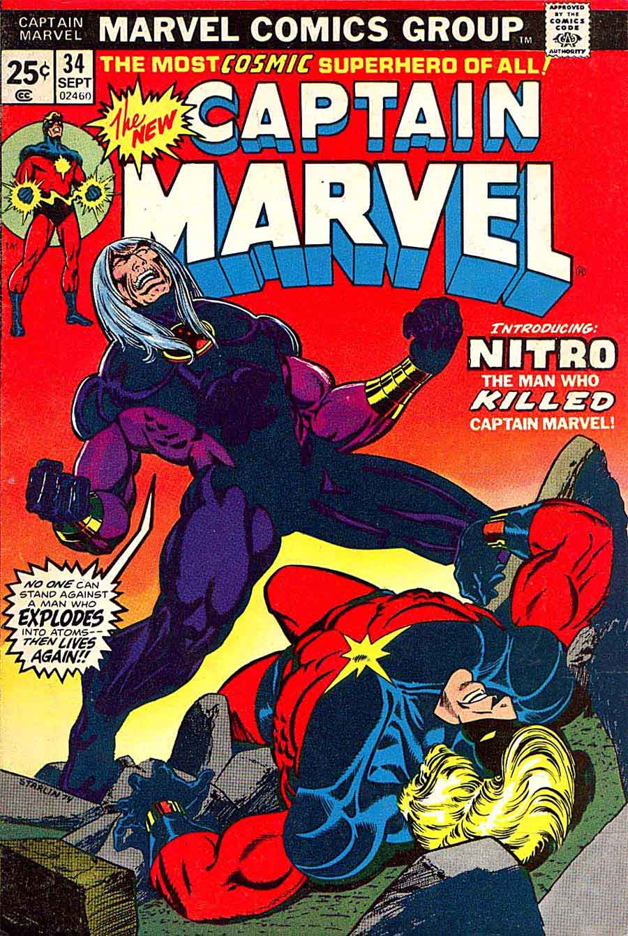 Captain Marvel #34 marvel 1970s bronze age comic book cover art by Jim Starlin