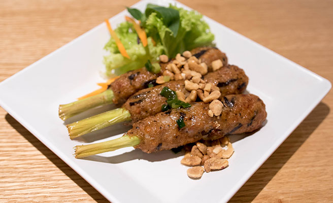 Minced Chicken on Lemongrass Sticks