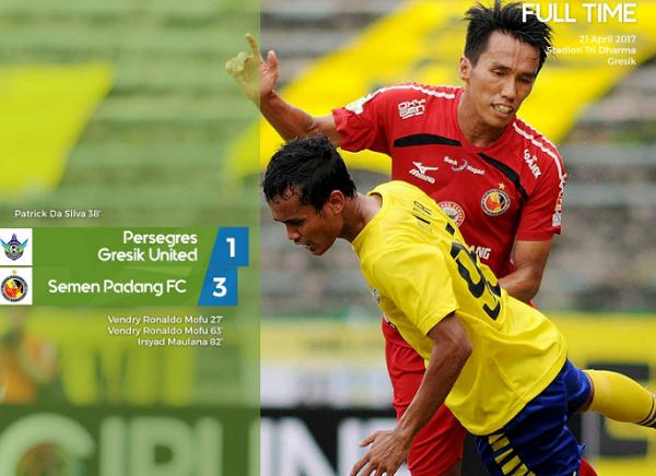 Kalahkan Persegres Gresik United 3-1, Semen Padang Kepuncak Klasemen
