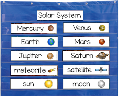 Solar System word list cards