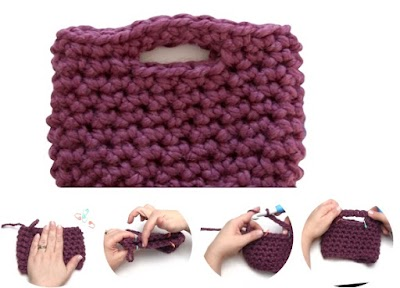 Bolsos con trozo tejido doblado para crear diferentes formas