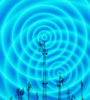 Symbol of electromagnetic oscillation process, radio masts with radio waves