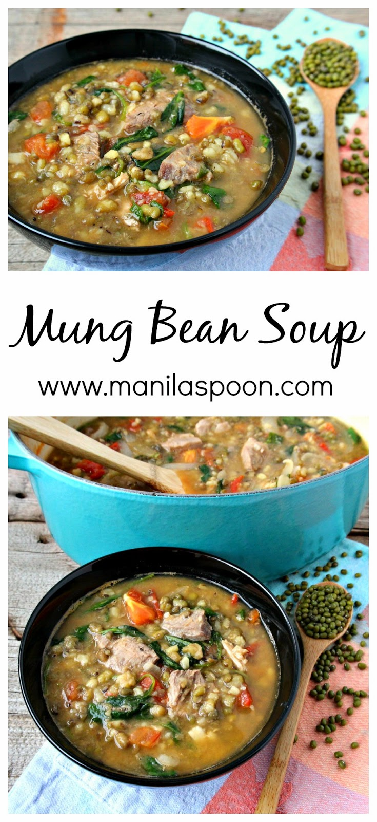 With beans, spinach, tomatoes and meat this hearty and healthy Mung Bean soup is filling and delicious!