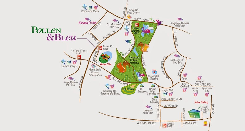 Pollen and Bleu location map
