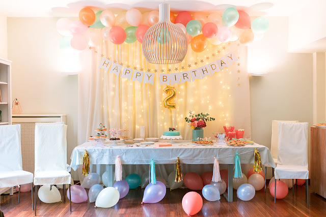 pastel jungle party, balloon backdrop,  birthday table, candy bar, gold, mint, coral party