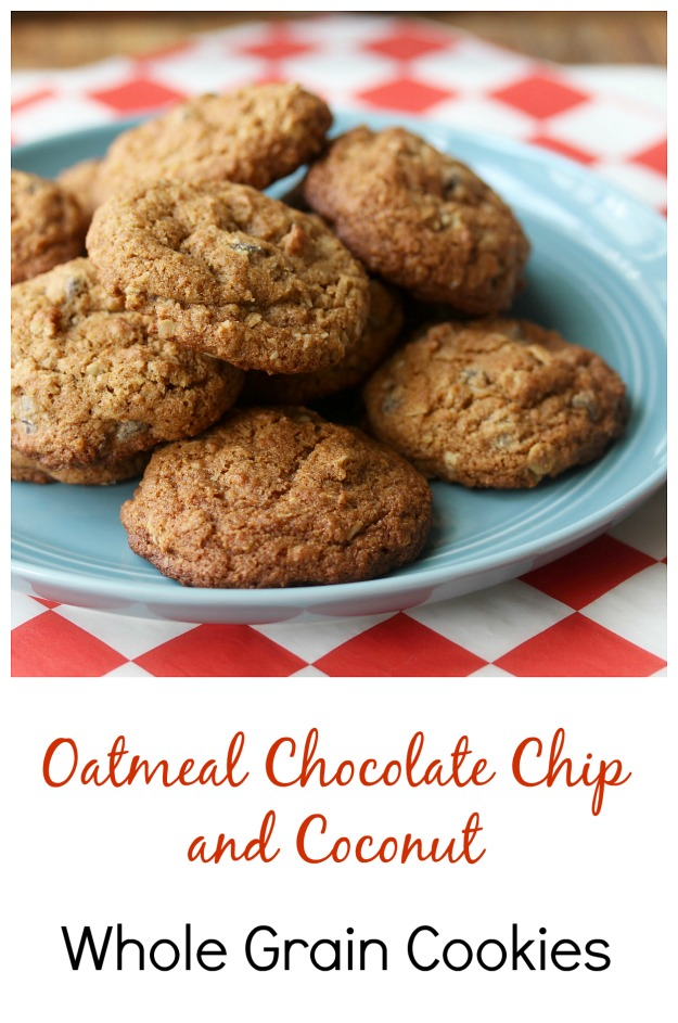 Oatmeal Chocolate Chip and Coconut Whole Grain Cookies #oatmealcookies #chocolatechipcookies