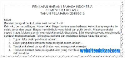 Soal PH Kelas 7 Bahasa Indonesia Semester 1 Tahun 2018/2019