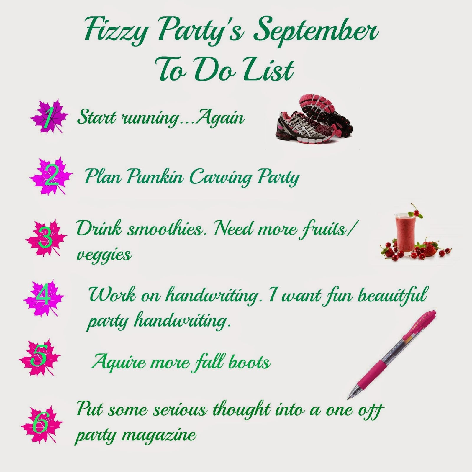 fizzy party september to do list